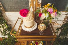 Cute cake setup on old fashioned cart. Very vintage chic.  See more of this styled shoot http://blog.myweddingreceptionideas.com/2014/08/glittery-pink-yellow-and-blue-styled.html  #mwri #wedding #cake #inspiration