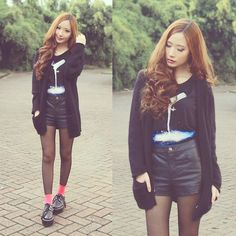 Wellborn Company Milky Way Top, Topshop Leather Shorts, Topshop Black Fuzzy Cardigan