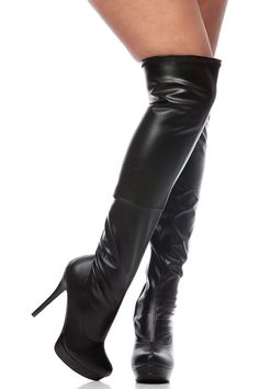 Black Faux Leather Thigh High Platform Stiletto Boots @ Cicihot Boots Catalog:women's winter boots,leather thigh high boots,black platform knee high boots,over the knee boots,Go Go boots,cowgirl boots,gladiator boots,womens dress boots,skirt boots. Thigh High Platform Boots, Black Thigh High Boots, Black Heel Boots, Platform Stilettos, Black Leather Boots, Heeled Boots, High Heels, Knee Boots, Gladiator Boots