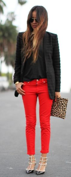 Red skinny jeans - Sincerely Jules
