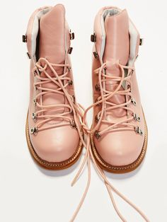 Cascade Canyon Hiker Boot | Lace-up hiker boots with an ultra femme bright pink hue or a stylish cognac suede design. Padded footbed for a comfortable step.