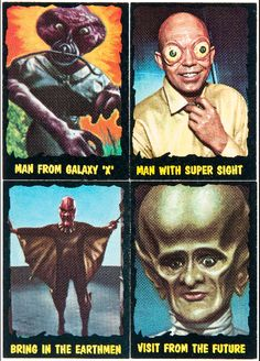 "atomic-flash: "" Classic Creatures From The Outer Limits - From the O-PEE-CHEE gum card set, 1964 (via Hake's) "" Sci Fi Horror Movies, Sci Fi Tv, Fiction Movies, Science Fiction, The Outer Limits, Tales From The Crypt, Creepy Pictures, Famous Monsters, Great Tv Shows"