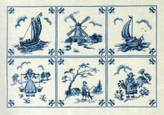 Delft Blue Tiles - cross stitch kit by Eva Rosenstand - A pretty collection based on Dutch tiles with boats, windmill and country people. Blue Tiles, Delft Tiles, Cross Stitch Kits, Cross Stitch Patterns, Ancient Egyptian Art, Blue Cross, Embroidery Transfers, Le Point, Cross Stitching