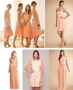 peach color palette bridesmaid dresses uk