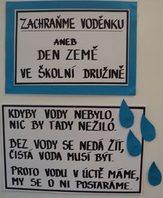 Den Země - Zachraňme Voděnku - motivační básnička (celotýdenní téma Voda ve školní družině - duben 2018) Aa School, School Clubs, Jar, Education, Kids, Carnival, Projects, Young Children, Children