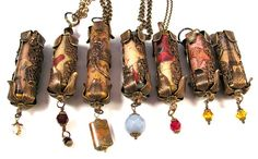 Image Transfer Polymer Clay Cylinder Bead Pendants Embellished with Vintaj Brass by DivaDesigns1, via Flickr