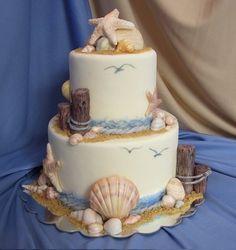 Beach themed wedding cake!