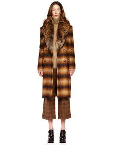 Fox-Collar Ombre Coat, Fuzzy Turtleneck & Lyndon Plaid Gaucho Pants by Michael Kors at Neiman Marcus.