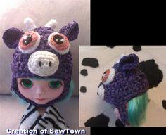 Crochet Pattern - Purple Cow Hat  www.sewtown.etsy.com
