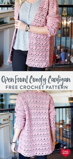 Open Front Comfy Cardigan free crochet pattern in Red Heart Soft yarn. Update yo… Open Front Comfy Cardigan free crochet pattern in Red Heart Soft. Gilet Crochet, Crochet Cardigan Pattern, Easy Crochet Patterns, Crochet Shawl, Knit Crochet, Crochet Style, Crochet Sweaters, Chrochet, Beaded Crochet