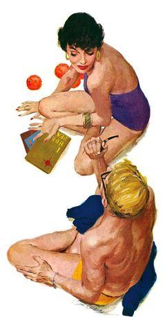 Celebrating illustration, design, cartoon and comic art of the century. Robert Mcginnis, Vintage Romance, Pulp Art, Couple Art, Retro Art, Pin Up Art, Pulp Fiction, Cover Art, Illustration Art