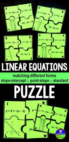 Students match different forms of the same linear equation (slope-intercept, point-slope, standard) in this puzzle activity. Good practice for translating between the forms.