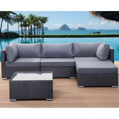 The SANO outdoor lounge set comes with a modular three-seater sofa, coffee table and ottoman. The sleek black finish and comfortable cushions makes this set the perfect way to relax outside, whether it's alone or with friends.