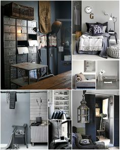 Mixture of Industrial and clean calming lines.  Accents of Wood and dark with light and warm tones.