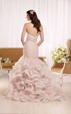 D2155 Ruffled wedding dress with ruched bodice by Essense of Australia