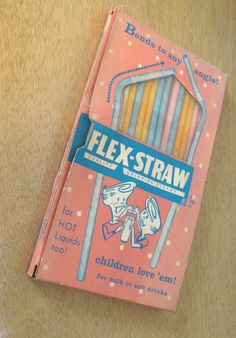 Flex-Straw 1950s bendy straws in package. Paper straws bend to any angle! Children love 'em! vintage pastel drinking straws by PickleladyVintage on Etsy