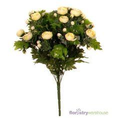 FloristryWarehouse Künstlicher Strauß (Butterblume), 45 cm, Cremefarben und Grün