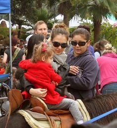 Jessica Alba takes Honor for a pony ride