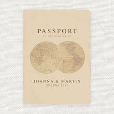 antique chic travel wedding passport program by idoityourself. $16.50, via Etsy.