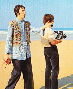 On Tregurrian Beach filming Magical Mystery Tour. September 13, 1967. ( The old name for Watergate Bay )