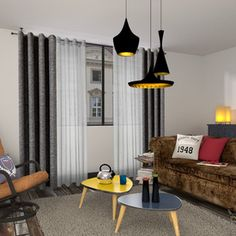 Decoration, Ceiling Lights, Curtains, Living Room, Retro, Authentique, Home Decor, Barbershop, Motifs