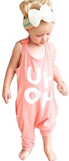 c759d7d5e6e4 Amazon.com  BANGELY Kids Boy Girl Sleeveless Letters Print Romper Harem  Pants Jumpsuit