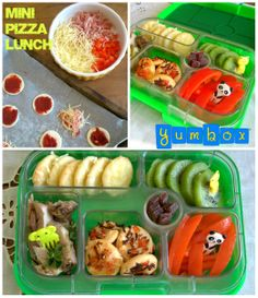 DIY mini pizza lunchbox. What child doesn't like pizza? Make it more fun with the mini versions, covered with their favorite toppings. Also included in this lunch is kiwi, red bell pepper, herb roasted pork tenderloin and raspberry fruit leather strips.