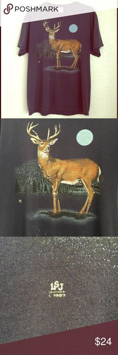 """VTG 80's OOAK deer tee - full moon - in the pines VTG 1980's deer crop top - one of a kind - sleeveless, with raw edges and tie detail, full moon, 8 point buck, whitetail, antlers - bleach stain pictured, soft, thin - altered OOAK vintage unisex XL  tee, reconstructed - please use these MEASUREMENTS: 22"""" pit to pit Vintage Tops"""
