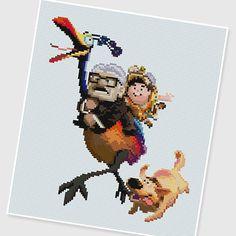 PDF Cross Stitch pattern : 0041.Up by PIXcross on Etsy Beaded Cross Stitch, Cross Stitch Baby, Cross Stitch Embroidery, Cross Stitch Patterns, Hama Disney, Disney Up, Hama Beads, Up Pixar, Yarn Trees