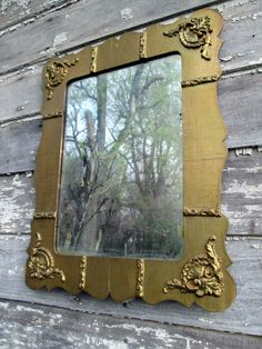 Antique Shabby Chippy Victorian Wood Gold Gilt Mirror Gesso floral accents 18.5x14.5""