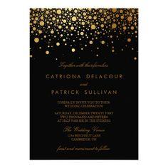 Faux Gold Foil Confetti Black Wedding Invitation #wedding #invitations