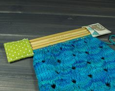 Sock Progress Keeper; Knitting Protector; Double Pointed Needle Holder; Sock Project Holder; DPN Storage; Green with White Dots and an Owl