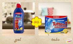 Qual è il #detersivo per la tua #lavastoviglie che meglio si adatta alle tue esigenze: il #gel tutto in uno o le #tabs?