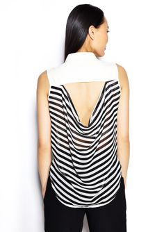 ALI & KRIS Sleeveless Collar Top with Open and Striped Back $34.99