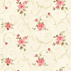 $6.99 - Dollhouse Miniature Shabby Chic Wallpaper Pink & Tan Roses Floral Flowers 1:12 #ebay #Collectibles