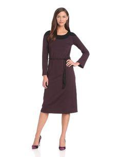Only Hearts Women's So Fine Roper Yoke Dress, Mulberry/Black, Large Features gathering at waist, color block detailing and a detachable tassel belt. Manufactured in new york city's garment district.