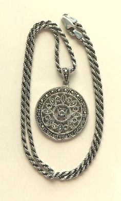 Round Sterling Silver Marcasite Pendant by MAGICALUNIVERSE on Etsy