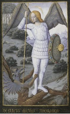 Saint Michael the Archangel - Bibliothèque nationale de France, Latin f. Book of Hours, use of Rome Medieval Manuscript, Medieval Art, Illuminated Manuscript, St. Michael, Saint Michael, Renaissance Kunst, Saint George And The Dragon, Art Roman, Medieval Paintings