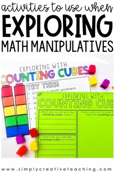 Let students explore with math manipulatives using these back to school math centers. Students in kindergarten, first grade, and 2nd grade will love these activities. These centers, games, and ideas are designed for students to practice using math manipulatives while learning how to become independent during M.A.T.H small groups and math rotations. Students will review various ways to use math manipulatives.