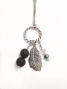 Silver Feather Lava Diffuser Necklace, Essential Oil Necklace, Aromatherapy Lava Bead Necklace, Lava Jewelry for Women Leaf Jewelry, Beaded Jewelry, Handmade Jewelry, Diffuser Jewelry, Diffuser Necklace, Essential Oil Jewelry, Aromatherapy Jewelry, Floral Necklace, Making Ideas