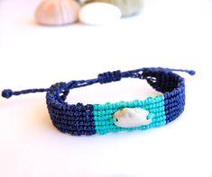 Sterling Silver Macrame Seashell Bracelet - Adjustable Handmade Summer Bracelet Summer Bracelets, Macrame Bracelets, Sea Shells, Hand Weaving, Turquoise, Adjustable Bracelet, Sterling Silver, Handmade, Jewelry