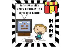 Gamer boy birthday card, greetings card, birthday greetings, video game, game console, computer geek, nerd card by ShellsCCC on Etsy Birthday Cards For Boys, Very Happy Birthday, Birthday Greeting Cards, Birthday Greetings, Boy Birthday, Card Birthday, Colors For Skin Tone, Motivational Gifts, Cellophane Bags