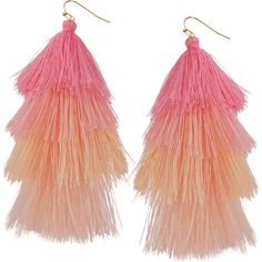 Humble Chic NY Hula Fringe Tassels ($28) ❤ liked on Polyvore featuring jewelry, peach, peach jewelry, tassel jewelry, fringe jewelry, dangling jewelry and layered jewelry