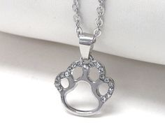 FanC Armour - Paw Crystal Open Face Necklace Available at www.fancarmour.com