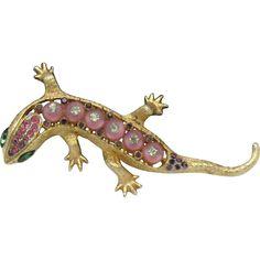 CORO CRAFT  Corocraft Shoe Button Rhinestone Figural Salamander Brooch & Pendant