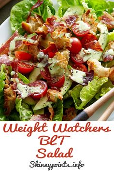 Healthy snacks for dogs with diabetes treatment guidelines 2016 Blt Recipes, Salad Recipes For Dinner, Healthy Salad Recipes, Healthy Snacks, Healthy Eating, Weight Watchers Salad, Weight Watchers Meal Plans, Low Calorie Salad, Blt Salad