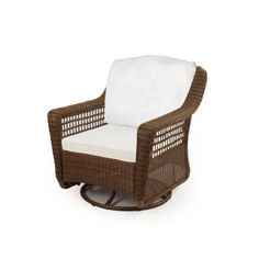 Hampton Bay Spring Haven Brown All-Weather Wicker Patio Swivel Rocker Chair with Bare Cushion-56-20344 - The Home Depot