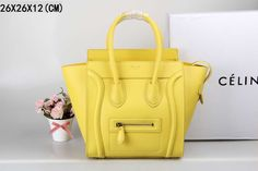 Celine Micro Luggage Handbag in Yellow Smooth Calfskin - $289.99 http://www.lhbon.com/celine-micro-luggage-handbag-in-yellow-smooth-calfskin-p-360.html