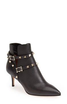 Valentino Valentino 'Rockstud' Pointy Toe Calfskin Leather Bootie (Women) available at #Nordstrom