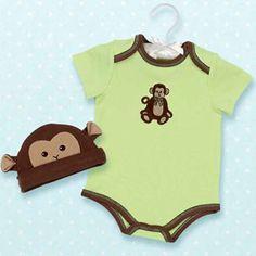 Bearington  Giggles Monkey Onesie and Hat Set
